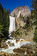 Vernal Fall and hikers on the Mist Trail, Yosemite National Park, California USA