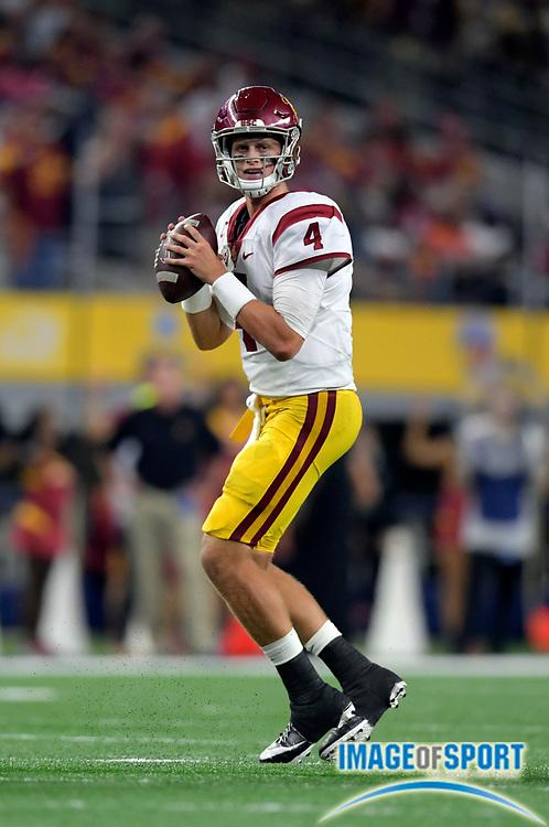 Sep 3, 2016; Arlington, TX, USA; USC Trojans quarterback Max Browne (4) throws during the third quarter against the Alabama Crimson Tide at AT&T Stadium.