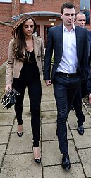 © Licensed to London News Pictures. 18/05/2015. Sunderland and England footballer Adam Jonhson and girlfriend Stacey Flounders leave Peterlee Magistrates court where he faced three counts of sexual activity with a child under 16 years and one offence of grooming. Photo credit: Nigel Roddis/LNP
