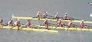 Chungju, South Korea.  Final Women's Quadruple Scull. 2013 FISA World Rowing Championships, Tangeum Lake International Regatta Course.16:27:30  Saturday  31/08/2013 [Mandatory Credit. Peter Spurrier/Intersport Images]<br /> <br /> 1GER W4X, Annekatrin THIELE (b) , Carina BAER (2) , Julia RICHTER (3) , Britta OPPELT (s)<br /> <br /> 2CAN W4X,Emily CAMERON (b) , Katharine GOODFELLOW (2) , Carling ZEEMAN (3) , Antje VON SEYDLITZ-KURZBACH (s)<br /> <br /> 3POLW4X Sylwia LEWANDOWSKA (b) , Joanna LESZCZYNSKA (2) , Magdalena FULARCZYK (3) , Natalia MADAJ <br /> <br /> 4NEDW4X Lisa SCHEENAARD (b) , Chantal ACHTERBERG (2) , Sophie SOUWER (3) , Nicole BEUKERS <br /> <br /> 5USAW4X Kara KOHLER (b) , Zsuzsanna FRANCIA (2) , Esther LOFGREN (3) , Megan KALMOE<br /> <br /> 6ITA W4X. Sara MAGNAGHI (b) , Giada COLOMBO (2) , Laura SCHIAVONE (3) , Gaia PALMA.