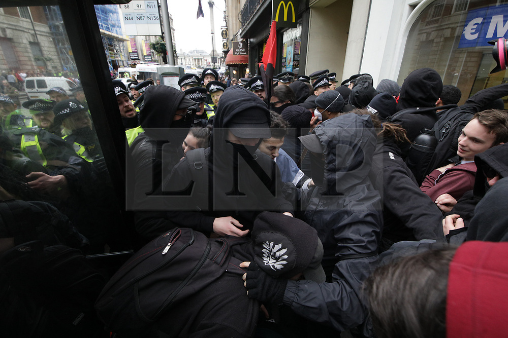 © Licensed to London News Pictures . 01/04/2017 . London , UK . The EDL and Britain First both hold demonstrations in London , opposed by anti-fascist groups , including Unite Against Fascism . Photo credit : Joel Goodman/LNP