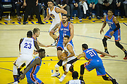 Golden State Warriors guard Stephen Curry (30) looks for an open teammate against the Oklahoma City Thunder at Oracle Arena in Oakland, Calif., on November 3, 2016. (Stan Olszewski/Special to S.F. Examiner)