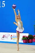 Kosoulieva Angela of Poland competes during the rhythmic gymnastics individual ball qualification of the World Cup at Adriatic Arena on April 10, 2015 in Pesaro, Italy.<br /> Angela was born in Gdynia, Poland in 1999.