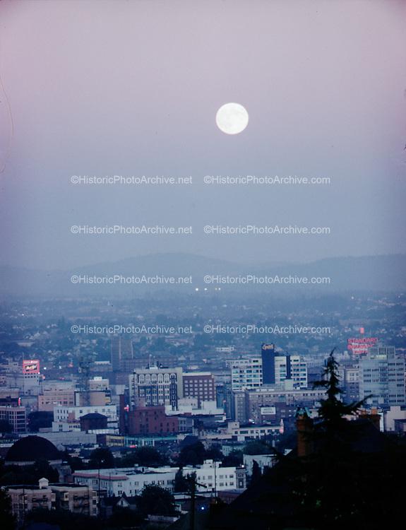 CS00025-12. Moon over Portland at twilight, August 1960