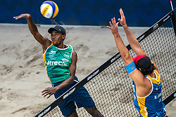Ahmed Tijan QAT in action during the third day of the beach volleyball event King of the Court at Jaarbeursplein on September 11, 2020 in Utrecht.