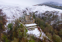 Aerial view of Castle Campbell in the snow, Dollar, Clackmannanshire, Scotland. UK