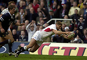 Twickenham, Surrey, 22nd March 2003,  RFU Twickenham Stadium, England, [Mandatory Credit; Peter Spurrier/Intersport Images]<br /> <br /> RBS Six Nations  Rugby England v Scotland<br /> Ben Cohen goes over for a disallowed try