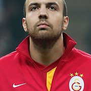 Galatasaray's Sercan Yildirim during their Turkish Super League soccer match Galatasaray between MKE Ankaragucu at the TT Arena at Seyrantepe in Istanbul Turkey on Wednesday, 25 January 2012. Photo by TURKPIX