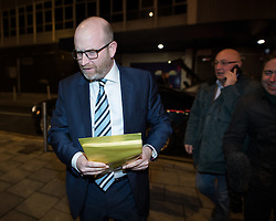 © Licensed to London News Pictures . 16/02/2017. Stoke-on-Trent, UK.  PAUL NUTTALL arrives at the BBC . Candidates for the seat of Stoke-on-Trent central , including Jack Brereton for the Conservative Party, UKIP's Paul Nuttall , Zulfiqar Ali for the Lib Dems , Labour's Gareth Snell and Adam Colclough for the Green Party arrive at BBC Stoke for a live radio debate . The by-election in the constituency of Stoke-on-Trent Central . Photo credit: Joel Goodman/LNP