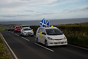 General election 2015. West Kilbride, Scotland. Eve of election calvacade around the town by the SNP (Scottish National Party)