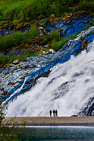 Nugget Falls flowing into Mendenhall Lake (next to Mendenhall Glacier), Juneau, southeast Alaska USA