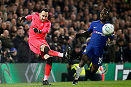 David Ospina , the goalkeeper of Arsenal (L) in action with Victor Moses of Chelsea (R). Carabao Cup , semi final 1st leg match, Chelsea v Arsenal at Stamford Bridge in London on Wednesday 10th January 2018.<br /> pic by Steffan Bowen, Andrew Orchard sports photography.