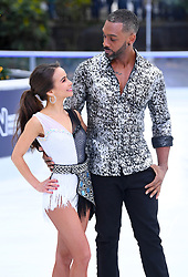 Carlotta Edwards and Richard Blackwood attending the Dancing on Ice Photocall launch held at the Natural History Museum, London. Photo credit should read: Doug Peters/EMPICS