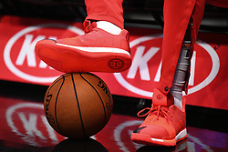 October 21, 2018 - Los Angeles, CA, U.S. - LOS ANGELES, CA - OCTOBER 21: Houston Rockets Guard James Harden (13) Adidas Volume 3 shoes as he warms up before a NBA game between the Houston Rockets and the Los Angeles Clippers on October 21, 2018 at STAPLES Center in Los Angeles, CA. (Photo by Brian Rothmuller/Icon Sportswire) (Credit Image: © Brian Rothmuller/Icon SMI via ZUMA Press)