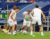 Photo: Chris Ratcliffe.<br />England Training Session. FIFA World Cup 2006. 30/06/2006.<br />Gary Neville (L) and David Beckham in training.