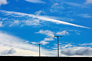 Cirrus clouds and power cable poles in Nottinghamshire, England<br /> FINE ART PHOTOGRAPHY by Tim Graham