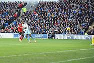 West Ham's Carlton Cole (24) shoots and scores his sides 1st goal during the Barclays Premier league, Cardiff city v West Ham Utd match at the Cardiff city Stadium in Cardiff, South Wales on Saturday 11th Jan 2014.<br /> pic by Jeff Thomas, Andrew Orchard sports photography.