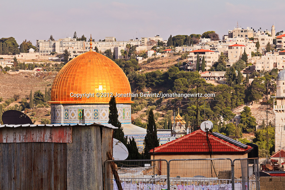 Rooftops in Old City of Jerusalem's Jewish Quarter, looking toward the Temple Mount and Dome of the Rock with the Mount of Olives in the background. WATERMARKS WILL NOT APPEAR ON PRINTS OR LICENSED IMAGES.