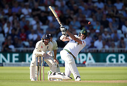 South Africa's Morne Morkel hits out during day three of the Second Investec Test match at Trent Bridge, Nottingham.