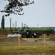 Russian peacekeeper force's checkpoint at entrance of the Georgian city of Poti, near the proclaimed independent region of Abkhazia..The Russian troops have take control of South Ossetia and Abhkazia separatist regions since the ceasefire declared by Moscow on the 12th of August, after 5 days of conflict.
