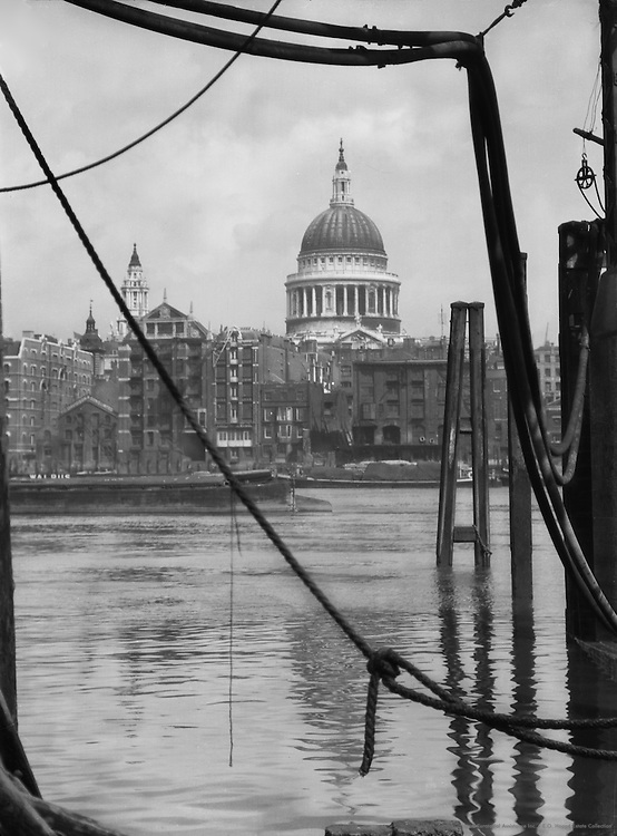 St. Paul's Cathedral from Bankside, London, England, 1925