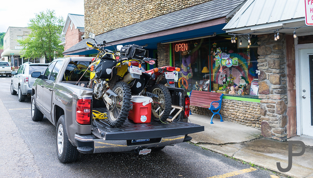 Kay and I hauled our motorcycles to The Hub for the 2016 Hillbilly Dual Sport ride.