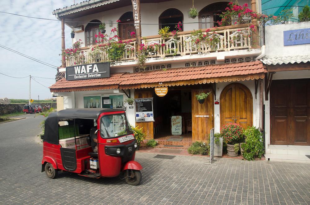 A tuktuk outside a restaurant in Galle Fort, Sri Lanka