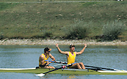 Zagreb, CROATIA.  AUS JM2- Bow, DENNIS  .Neiland stroke. SZCZURONSKI Stefan. 2000 FISA World Rowing Junior & Non-Olympic Seniors Championships   [Mandatory Credit Peter Spurrier/Intersport Images]