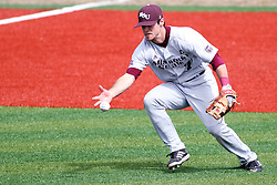 06 April 2013:  Infielder Joey Hawkins hustles to make a one handed grab on an infield hit during an NCAA division 1 Missouri Valley Conference (MVC) Baseball game between the Missouri State Bears and the Illinois State Redbirds in Duffy Bass Field, Normal IL