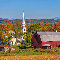 Classic New England scenery of the quaint village of Peacham VT in the North East Kingdom of Vermont, beautifully framed by fall foliage and colors. <br /> <br /> Quaint Peacham Vermont photography images are available as museum quality photo, canvas, acrylic, wood or metal prints. Wall art prints may be framed and matted to the individual liking and New England interior design projects decoration needs.<br /> <br /> Good light and happy photo making!<br /> <br /> My best,<br /> <br /> Juergen
