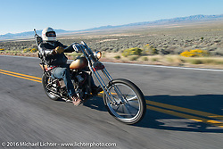 Sean Duggan riding his 1936 Harley-Davidson Knucklehead chopper during stage 12 (299 m) of the Motorcycle Cannonball Cross-Country Endurance Run, which on this day ran from Springville, UT to Elko, NV, USA. Wednesday, September 17, 2014.  Photography ©2014 Michael Lichter.