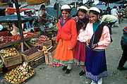 ECUADOR, HIGHLANDS, CANAR Canari Indians with traditional hats