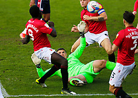 Football - 2020 / 2021 Sky Bet League Two - Morecambe vs. Bolton Wanderers<br /> <br /> Morecambe keeper  Kyle Letheren is stranded on the floor as a Bolton Wanderers shot goes wide, at the Mazuma Stadium.<br /> <br /> COLORSPORT/ALAN MARTIN