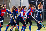 BILTHOVEN -  Hoofdklasse competitiewedstrijd dames, SCHC v hdm, seizoen 2020-2021.<br /> Foto: SCHC juicht na eerste doelpunt