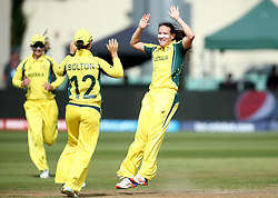 Megan Schutt of Australia Women celebrates with Nicole Bolton of Australia Women after taking the wicket of Lauren Winfield of England - Mandatory by-line: Robbie Stephenson/JMP - 09/07/2017 - CRICKET - Bristol County Ground - Bristol, United Kingdom - England v Australia - ICC Women's World Cup match 19