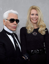 Karl Lagerfeld and Claudia Schiffer attend the Chanel Haute-Couture Spring-Summer 2008 fashion show held at the Grand Palais, in Paris, France, on January 22, 2008. Photo by Nebinger-Taamallah/ABACAPRESS.COM