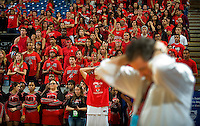 The Antelope Crowd and head coach Robert Richards react as St. Mary's collects their championship awards after their 61-50 loss of the CIF DIV II boys Basketball Championship game.