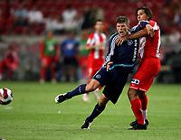 Photo: Maarten Straetemans.<br /> Ajax v Athletico Madrid. LG Amsterdam Tournament. 02/08/2007.<br /> Klaas Jan Huntelaar of Ajax with Fabiano Eller (right)