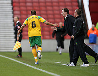 Photo: Paul Greenwood/Sportsbeat Images.<br />Stoke City v Norwich City. Coca Cola Championship. 01/12/2007.<br />Congratulations for Darren Huckerby from manager Glen Roeder