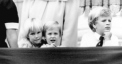 Zara Phillips, Prince William and Peter Phillips on the balcony of Buckingham Palace during the Queen's birthday parade.