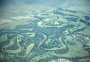 Alaska Aerial view of oxbows along a river near  Cordova Alaska.