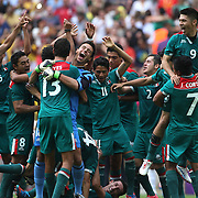 Mexico celebrate their Gold Medal win after defeating Brazil 2-1 during the Brazil V Mexico Gold Medal Men's Football match at Wembley Stadium during the London 2012 Olympic games. London, UK. 11th August 2012. Photo Tim Clayton