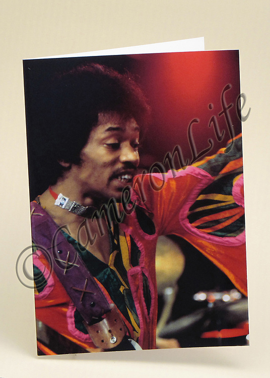 Jimi Hendrix Greetings Cards - Pack of six A6 laminated Greetings Cards of chosen design (includes postal envelopes) each card individually packed in a clear cellophane envelope.