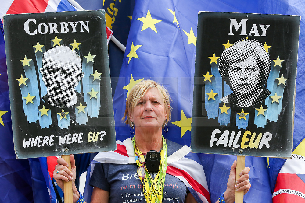 © Licensed to London News Pictures. 01/05/2019. London, UK. Anti-Brexit campaigner Sue stands outside Parliament holding anti Theresa May and Jeremy Corbyn posters. Photo credit: Dinendra Haria/LNP