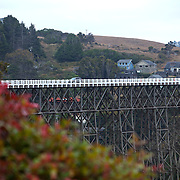 A view of a bridge over the bay on the Pacific Ocean is seen from a hotel in Albion, California is seen on September 10, 2013. (AP Photo/Alex Menendez)