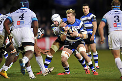 Dominic Day of Bath Rugby in possession - Photo mandatory by-line: Patrick Khachfe/JMP - Mobile: 07966 386802 12/12/2014 - SPORT - RUGBY UNION - Bath - The Recreation Ground - Bath Rugby v Montpellier - European Rugby Champions Cup