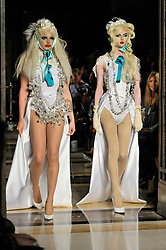 © Licensed to London News Pictures. 15/09/2017. London, UK. Models present a look by Michaela Frankova at Fashion Scout in Covent Garden, one of the many venues hosting London Fashion Week SS18.  Photo credit : Stephen Chung/LNP