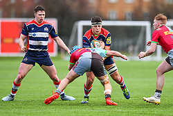 Ethan Organ of Bristol Academy U18 is tackled by Jack Potter of Harlequins Academy U18 - Mandatory by-line: Craig Thomas/JMP - 03/02/2018 - RUGBY - SGS Wise Campus - Bristol, England - Bristol U18 v Harlequins U18 - Premiership U18 League