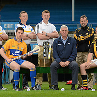 12 September 2012; Bord Gáis Energy Ambassadors Conor McGrath, of Clare, left, and Cillian Buckley, of Kilkenny, right, Ger Cunningham, Sports Ambassador, Bord Gáis Energy, centre, with, standing from left to right, Clare managers Gerry O'Connor, Donal Moloney, Galway's Joe Canning, Breaking Through Players of the Year Judge, and Kilkenny manager Richie Mulrooney were in Thurles today ahead of Saturday's Bord Gáis Energy GAA Hurling U-21 All-Ireland Final which will be played in Semple Stadium, Thurles. Clare play Kilkenny at 7pm in a repeat of the 2009 Final. The game is preceded by Roscommon against Kildare in the 'B' Final, which throws in at 5pm. Both games will be live on TG4. Semple Stadium, Thurles, Co. Tipperary. Picture credit: Matt Browne / SPORTSFILE *** NO REPRODUCTION FEE ***