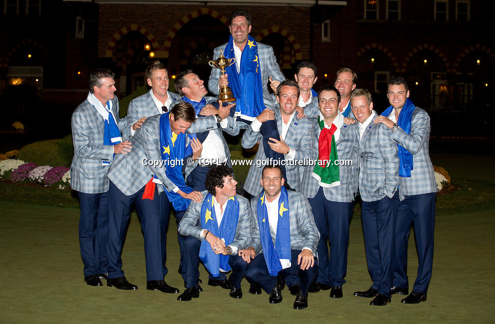 Europe celebrate their epic victory over USA during final day Singles,Ryder Cup Matches 2012,Medinah CC,<br /> Medinah,Illinois,USA.